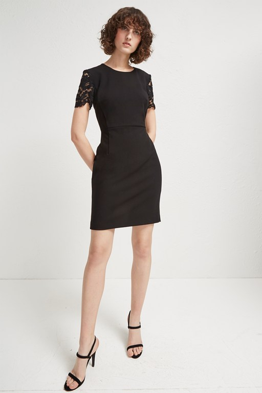 whisper ruth round neck bodycon dress
