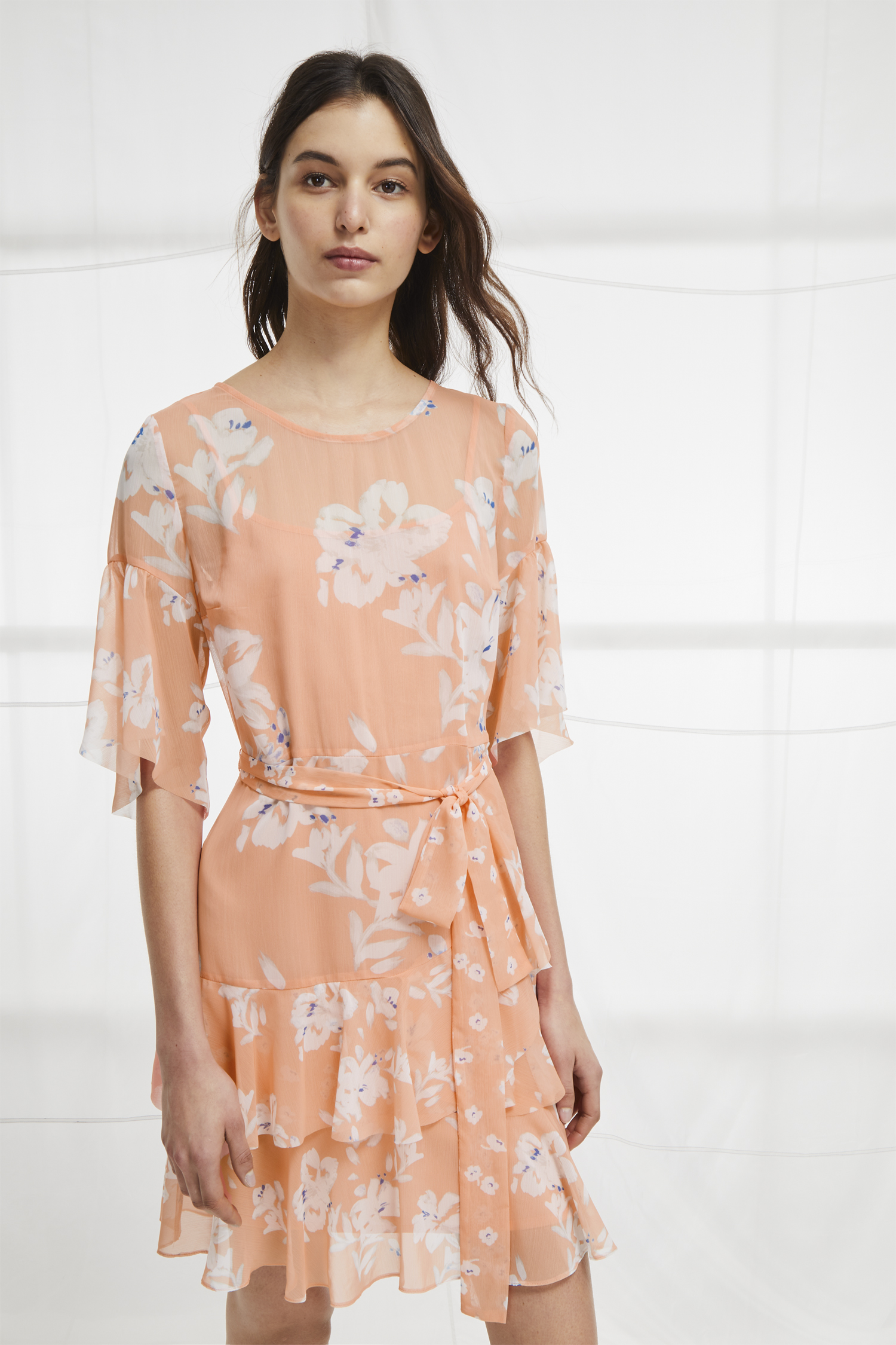 Alba Sheer Tie Waist Ruffle Dress Suits French Connection Usa