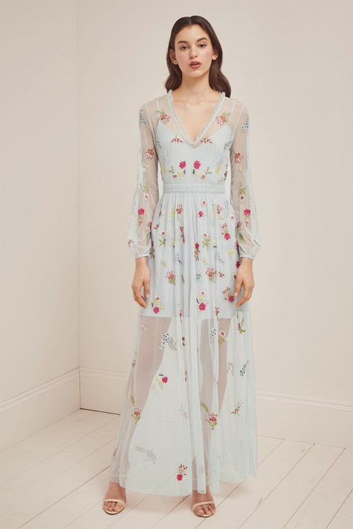 christy bloom embroidered maxi dress