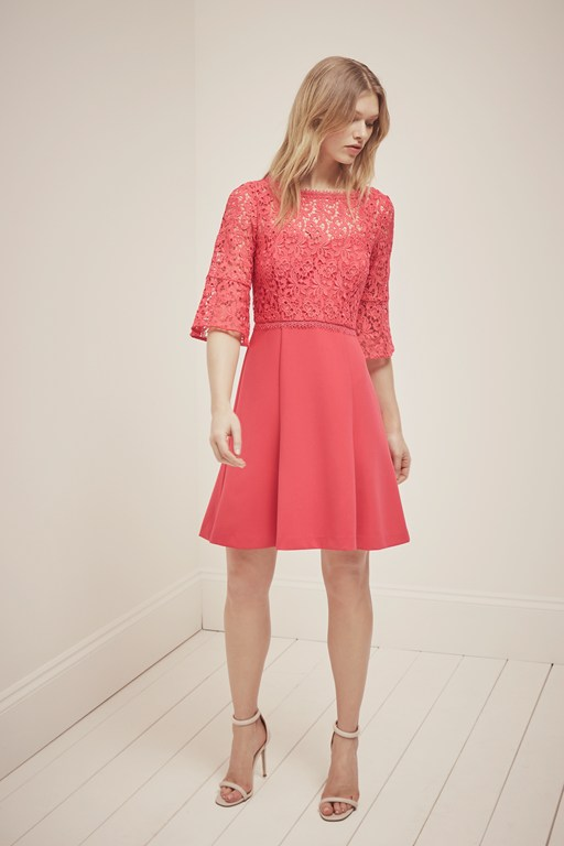 whisper ruth lace fit and flare dress