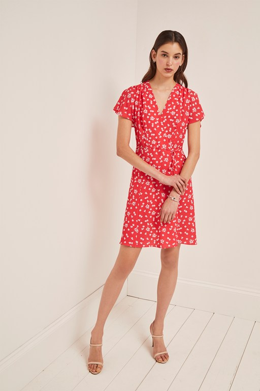 verona printed wrap dress