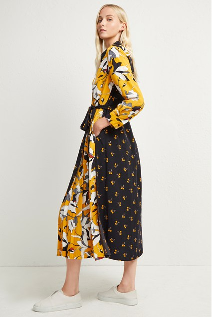 Aventine Drape Maxi Shirt Dress