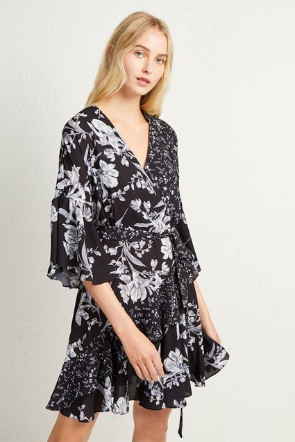Ellette Crepe Frill Wrap Dress