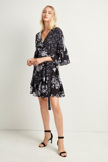 Ellette Crepe Frill Wrap Dress Formal Evening French Connection Usa