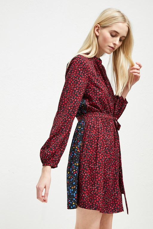 aubine fluid floral shirt dress