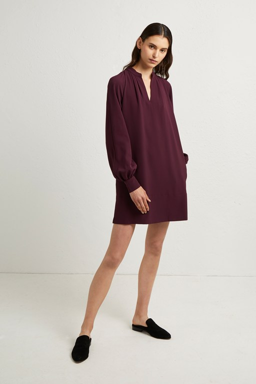 mahi crepe solid pop over dress