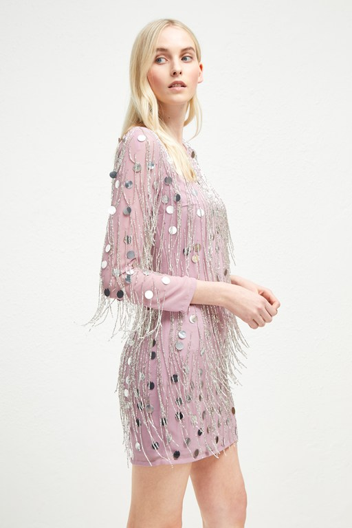 baani fringe beaded tunic dress