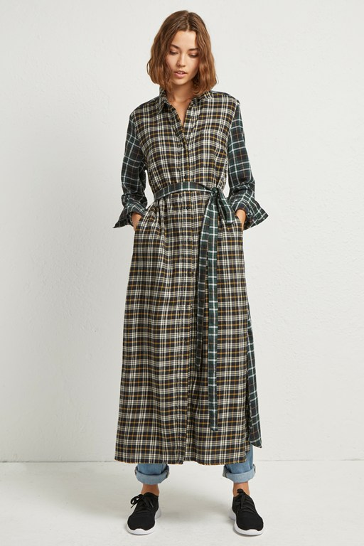 este check midi shirt dress