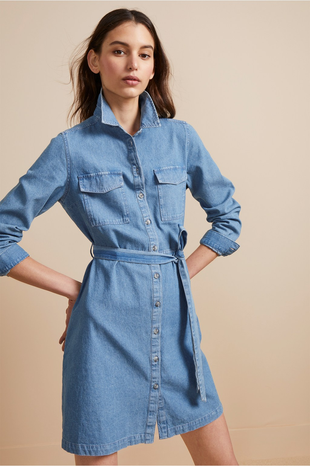 Avery Denim Belted Shirt Dress Sale French Connection Usa