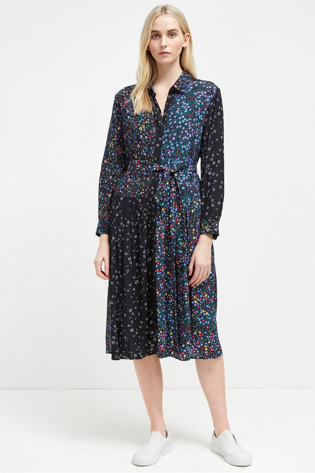 Aubine Pleated Floral Midi Shirt Dress Sale French Connection Usa