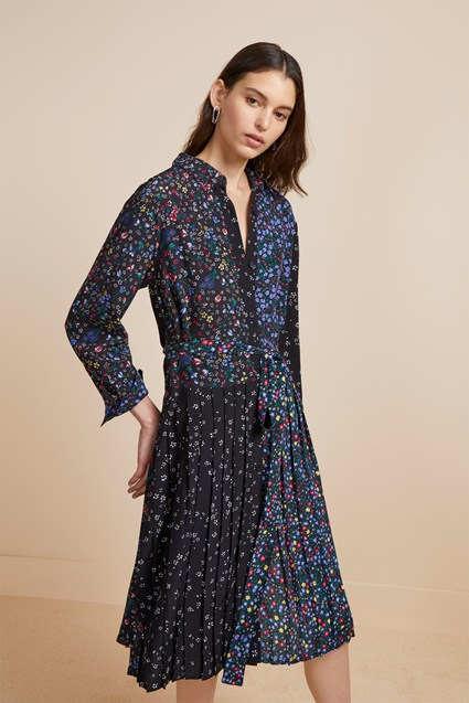 Aubine Pleated Floral Midi Shirt Dress