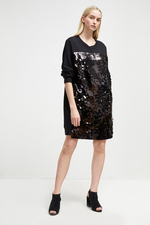 emilia sequin jersey sweater dress