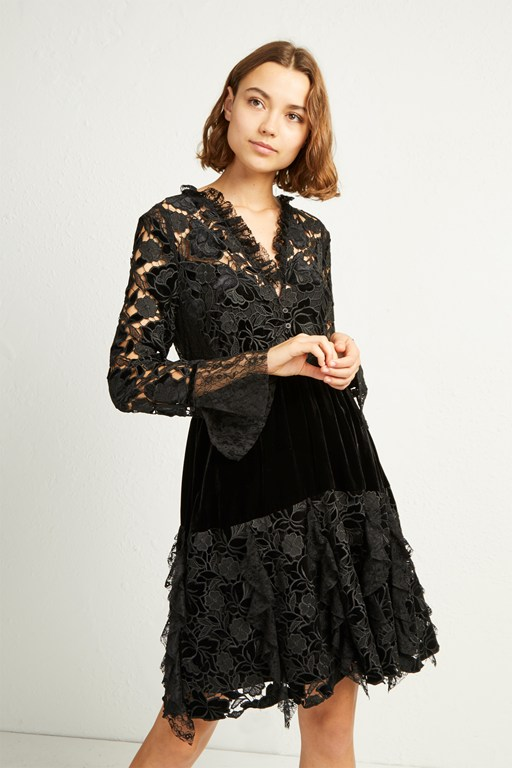 cynthia velvet lace mix dress