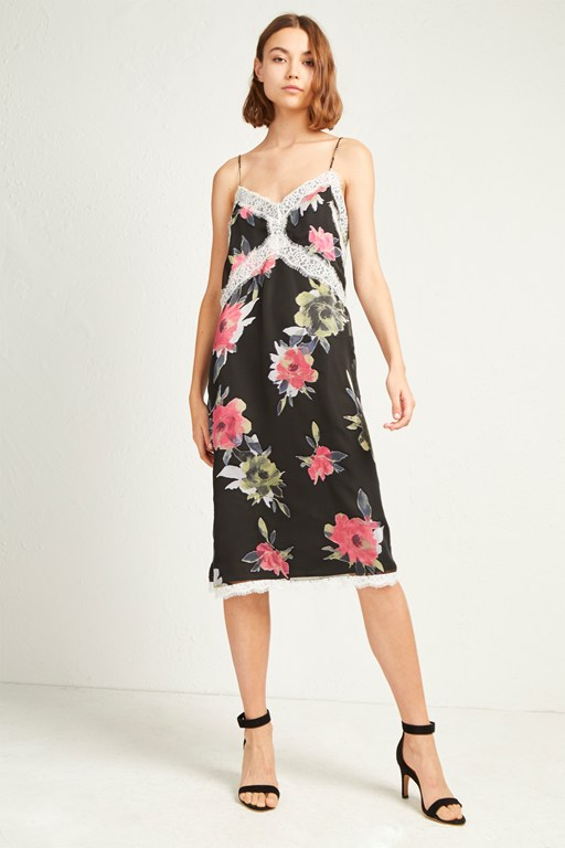 edith satin devore slip dress