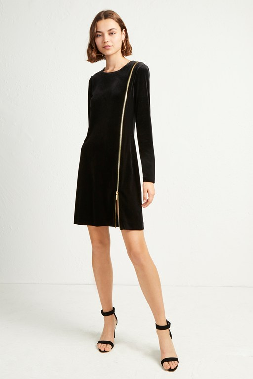 zella aurore velvet zip mini dress