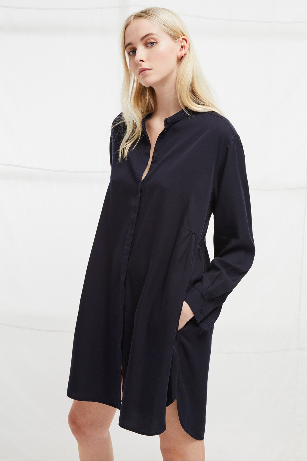 Sunny Grandad Collar Shirt Dress Collections French Connection Usa