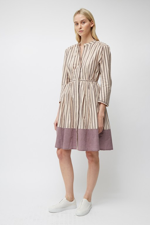 cotton mix stripe long sleeve dress
