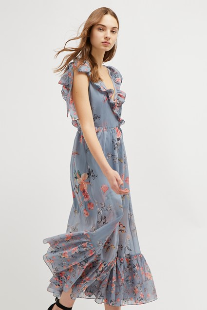 Cecile Sheer V-Neck Maxi Dress