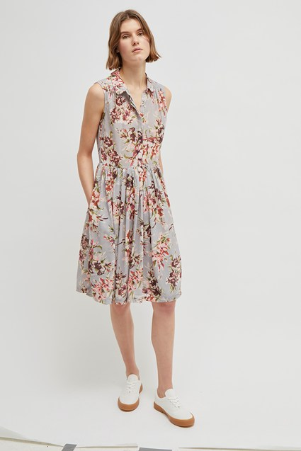 Alerie Drape Floral Shirt Dress