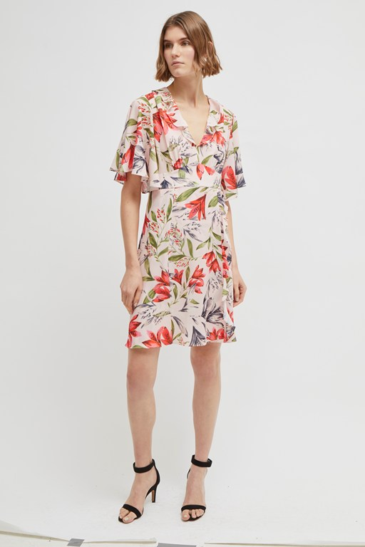 cadencia crepe short floral dress