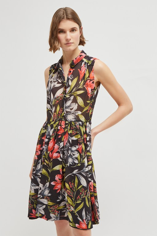cadencia drape floral shirt dress