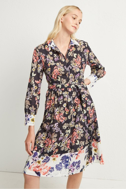 acaena voile floral shirt dress