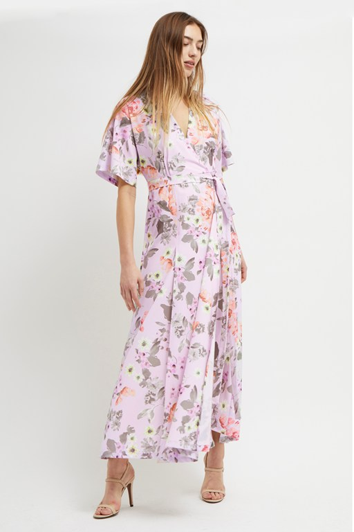 armoise crepe floral maxi wrap dress