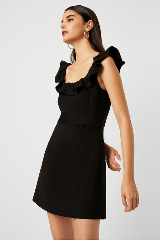 whisper light ruffle neck dress