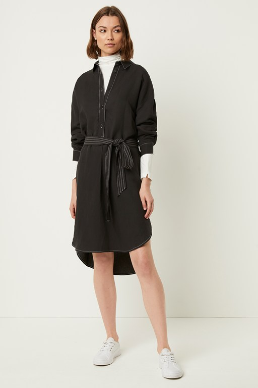 milana caspia linen blend shirt dress