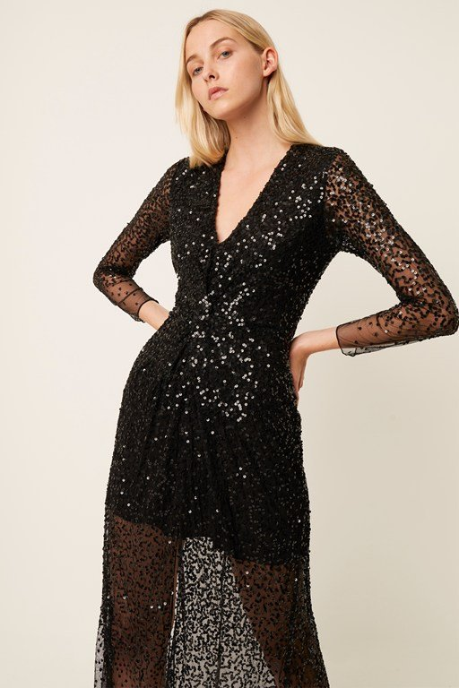 emille sequin plunge neck dress