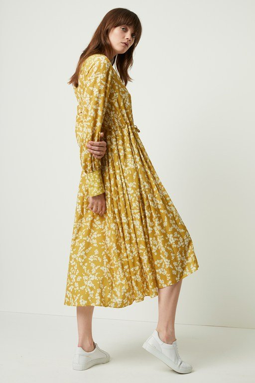 bruna light floral shirt dress