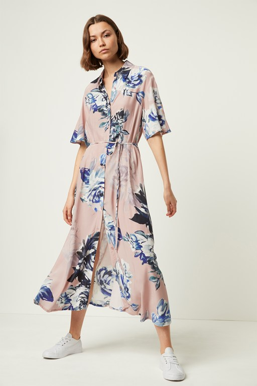 corsetta drape maxi shirt dress