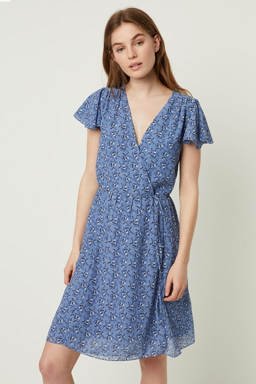 agata georgette wrap dress