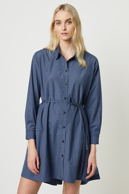 Mattia Check Wrap Shirt Dress