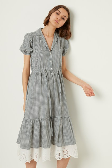 Vintage Jacqueline Check Shirt Dress by French Connection