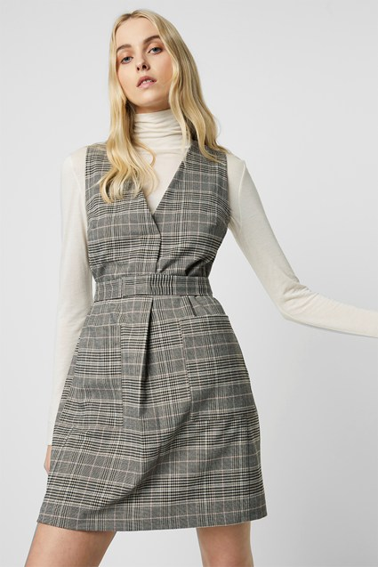 Amati Check V Neck Dress