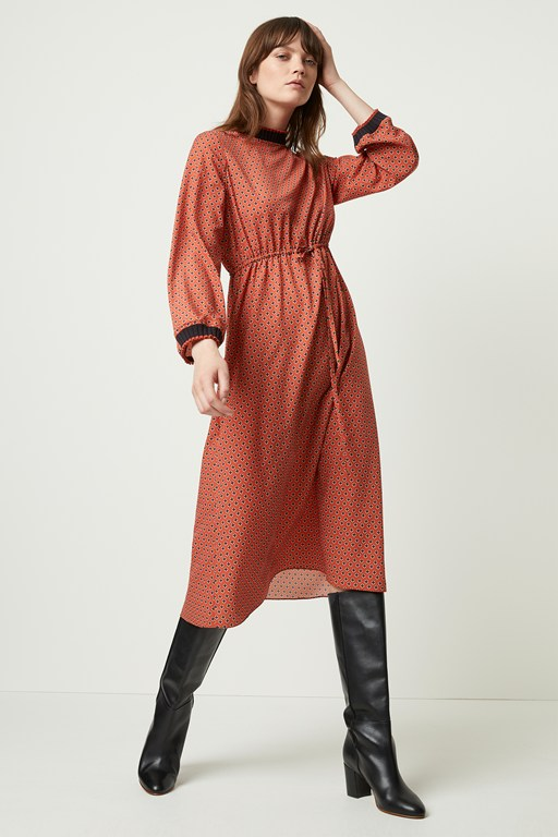 caprice long sleeve waist dress