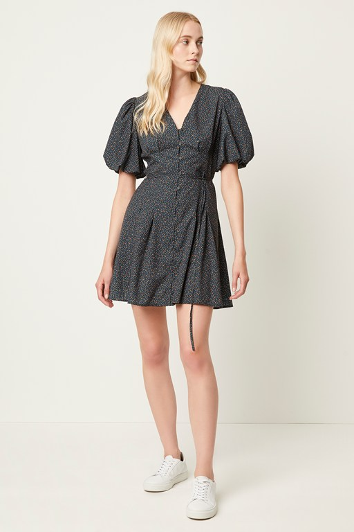 graziana puff sleeve ditsy dress