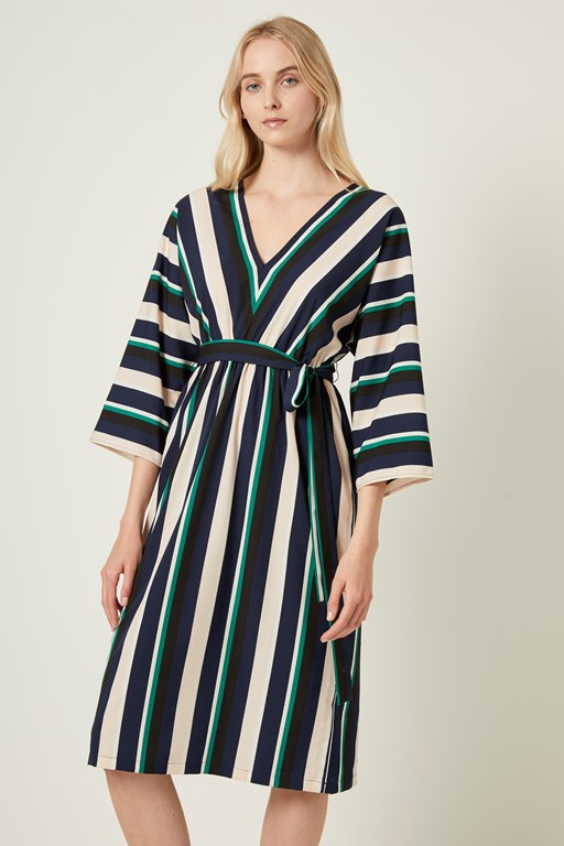 multi stripe belted dress