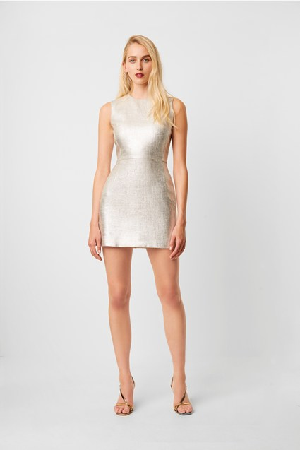 Metallic Sundae Shape Sleeveless Dress