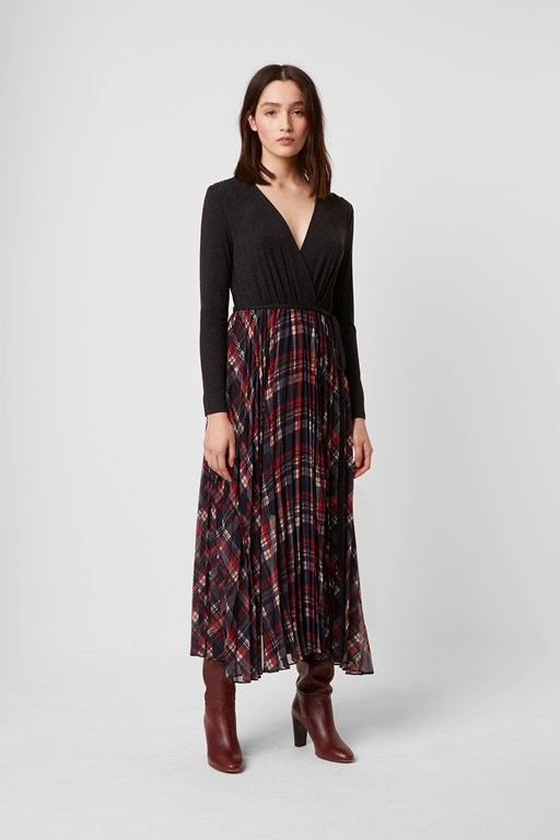 armo mix jersey check dress