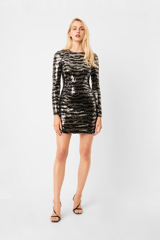 ebba tiger sequin long sleeve mini dress