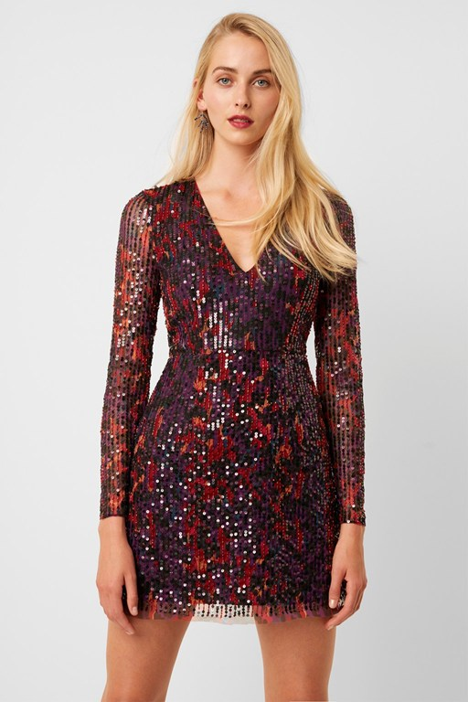 inari embellished leopard sequin dress