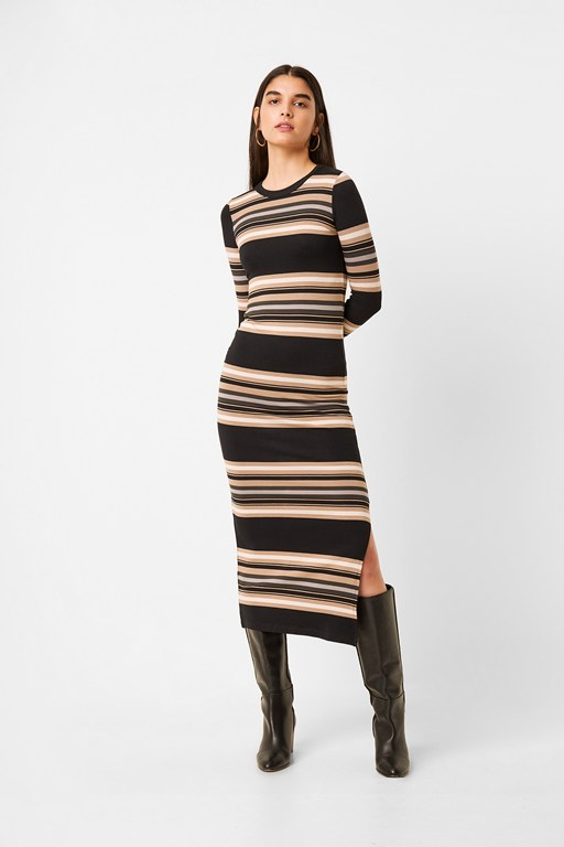 sweeter ribbed stripe bodycon midi dress