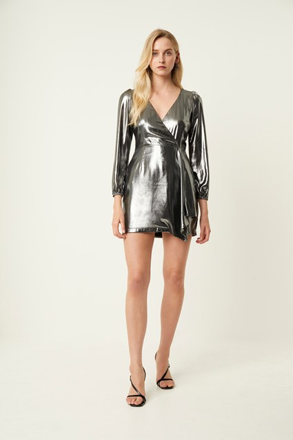 Metallic Drape Wrap Dress