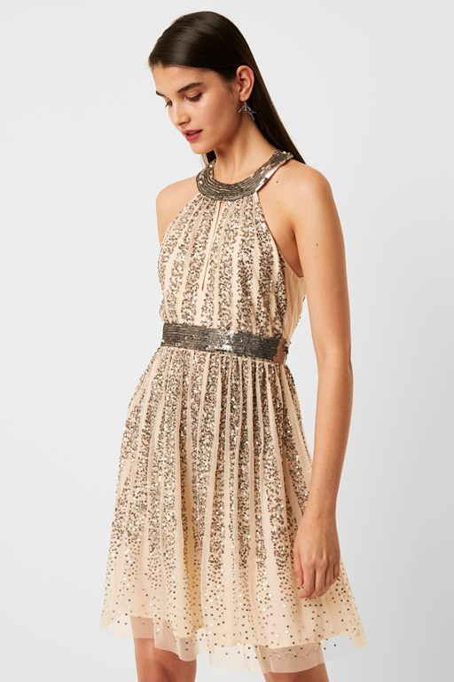 aello embellished sequin mesh neck dress