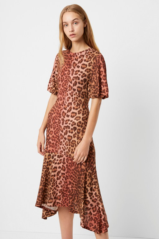 annla leopard hanky hem midi dress