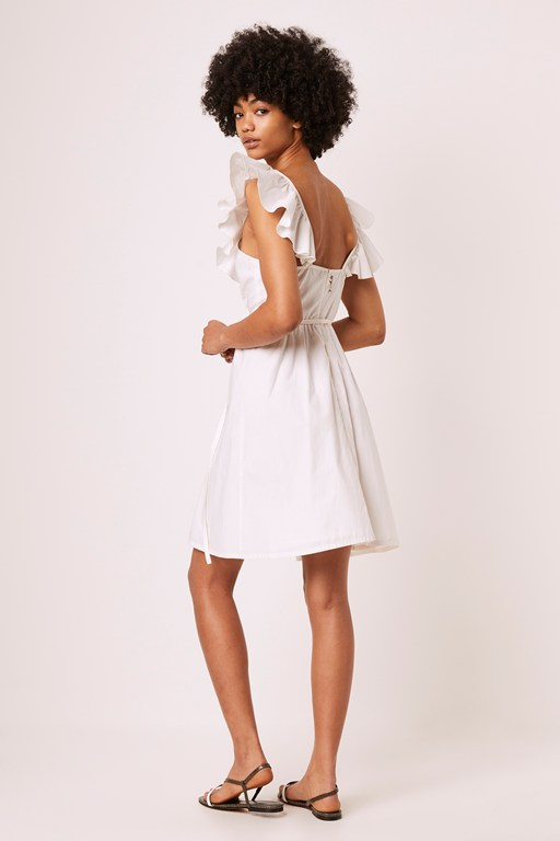 azana ruffle v-neck midi dress