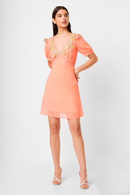 Abiba Embroidered Embellished Neon Mini Dress