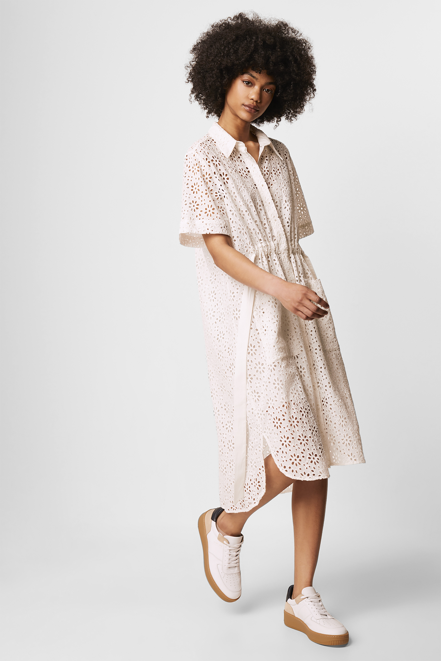 French Connection Blanc AGEE broderie anglaise Popover Shirt Taille S